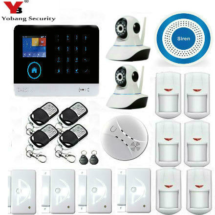 YoBang Security Motion Detection Of Wireless WiFi GSM Home Safety Camera System,HD Video IP Camera + Smoke Detection Alarm.