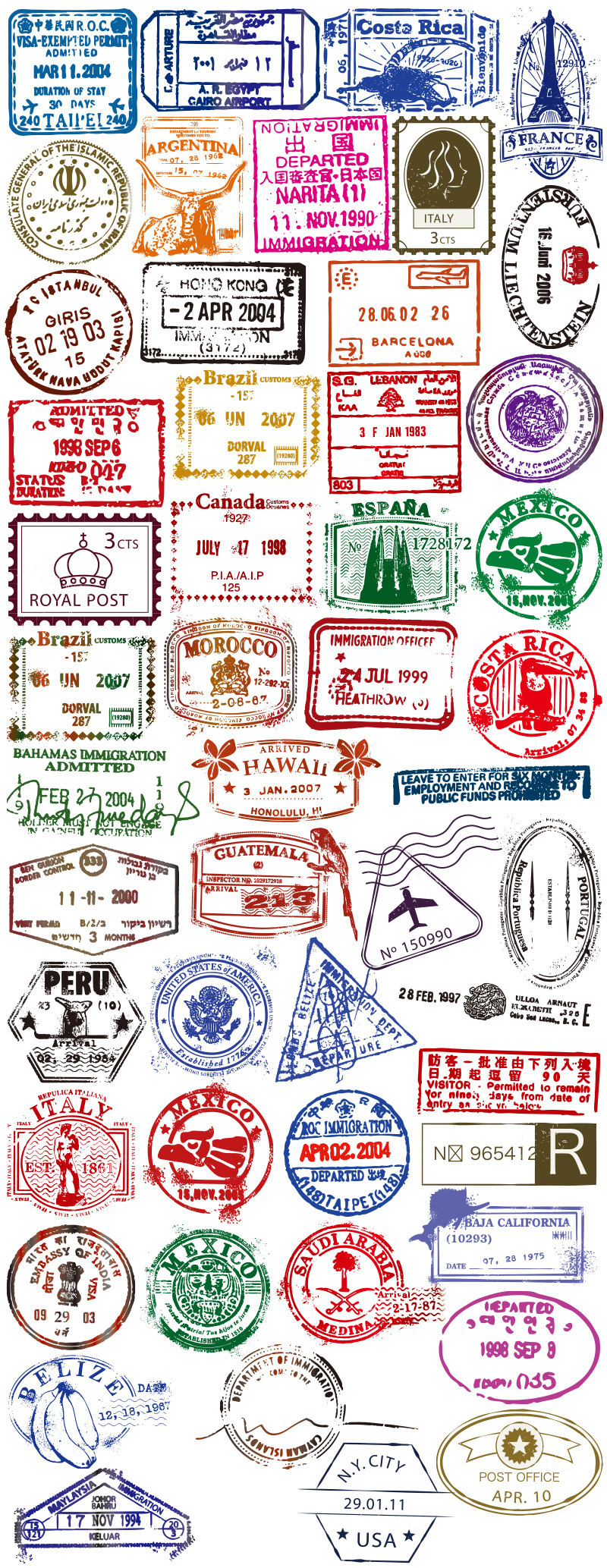 50 transparent travel-themed vinyl stickers for laptops or suitcases