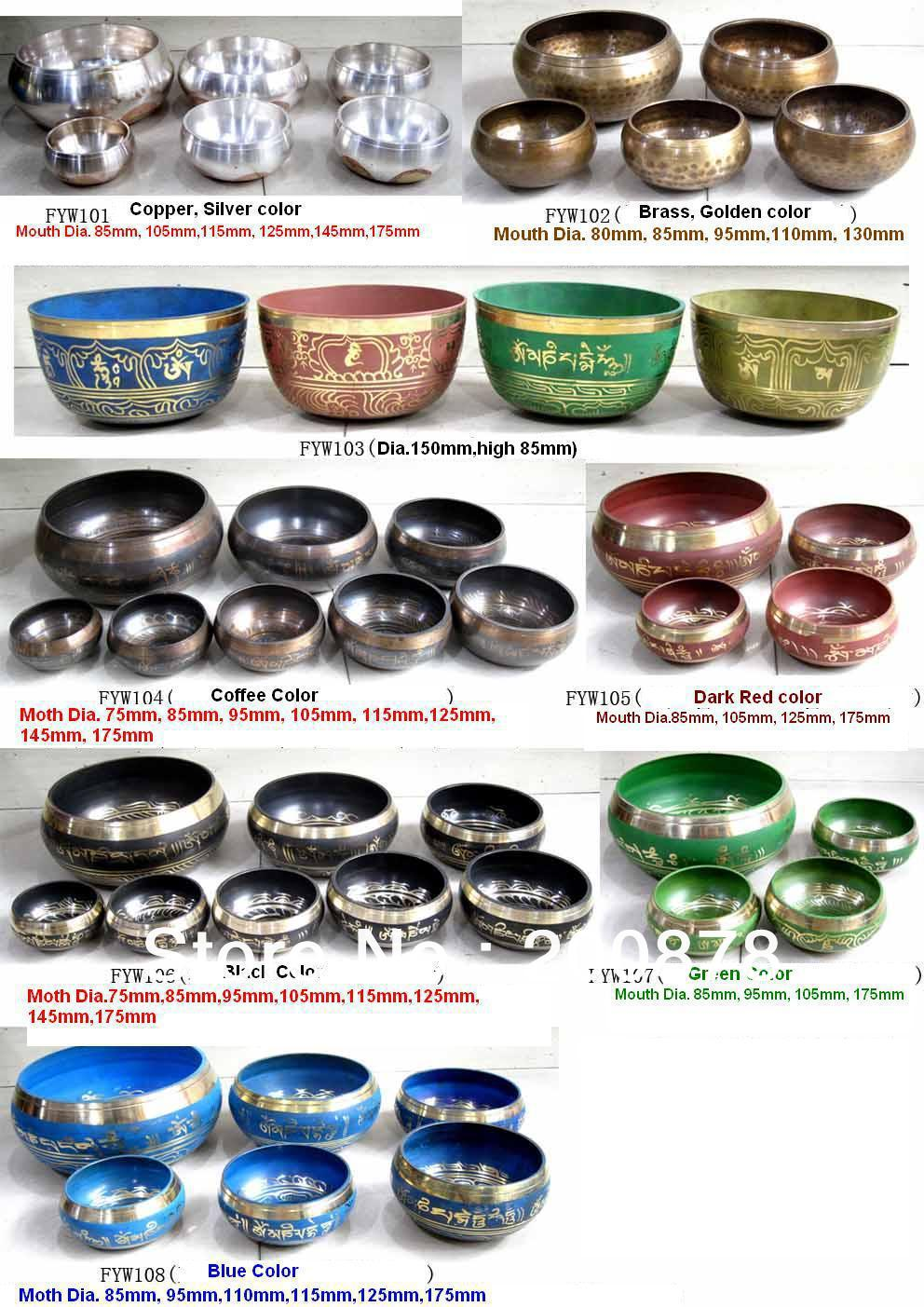 Wholesale Tibetan Buddhist Supplying Things Singing Bowl Yoga Music Instrument Healing Bowls Set Various Sizes Colors