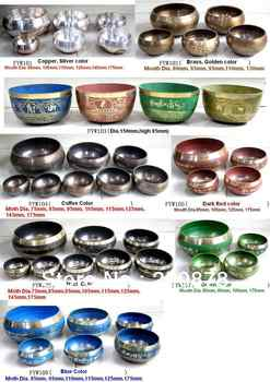Wholesale Tibetan Buddhist Supplying Things Singing Bowl Yoga Music Instrument Healing Bowls Set Various Sizes Colors - DISCOUNT ITEM  5% OFF All Category