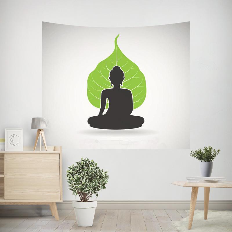Santo Tapeçaria Cabeça Da Estátua de Pedra de Buda Meditação Zen Ouro Luminosa Luz Decoração Da Parede Enforcamentos Mural Para Acessórios Para Casa