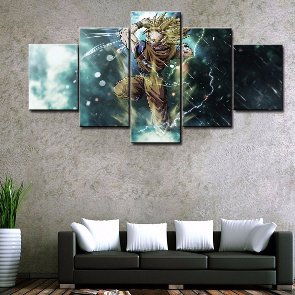 5 Pieces Canvas Dragon Ball Z Goku Wall Art Panels