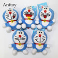 5pcs/lot Anime Cartoon Doraemon 8cm Plush Dolls with Chain Stuffed Soft Toys Kids Gift Pendants Ring AP0077