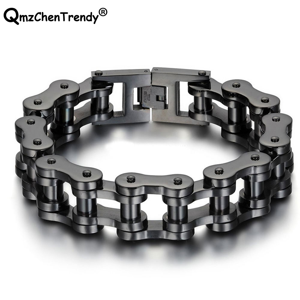 Stainless Steel Hip Hop Pulseras Mens Motor Biker Link Chain Bracelets Motorcycle Wristband Bangle Punk Jewelry 18MM/23MM 23CM 23mm width punk stainless steel bracelet men double biker bicycle motorcycle chain men s bracelets mens big bracelets