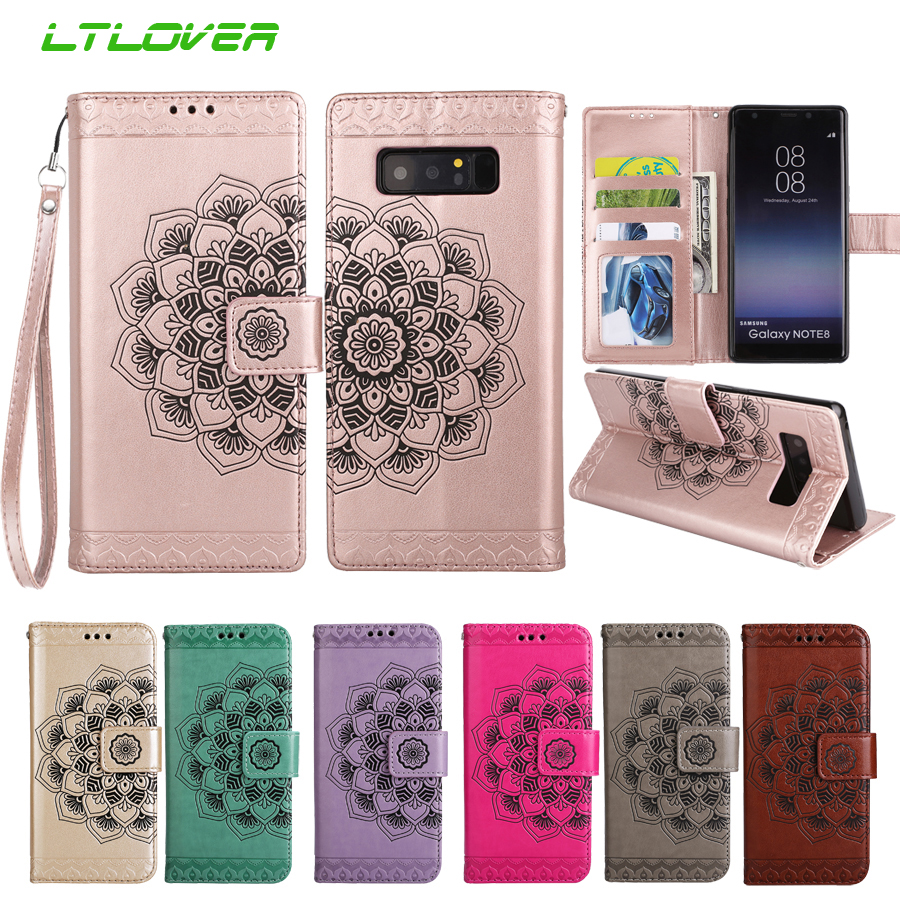 Luxury 3D Embossed Flower Leather Wallet Phone Case For Samsung Galaxy S3 S4 S5 S6 S7 Edge S8 S9 Edge Note 8 Cases Flip Cover