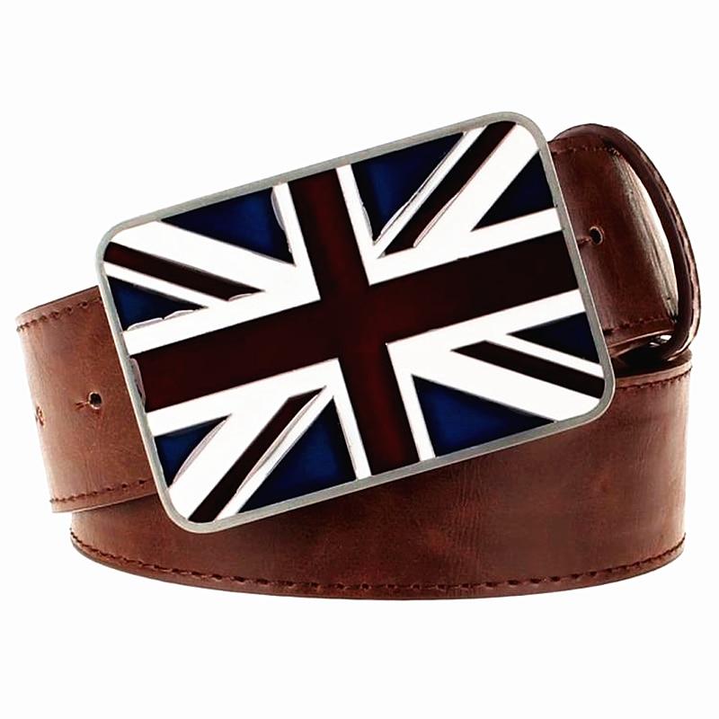 Mode für Männer Gürtel Leder britische Nationalflagge Gürtel Metall UK Flaggen Gürtel Union Jack Geschenk für Männer Frauen Ledergürtel