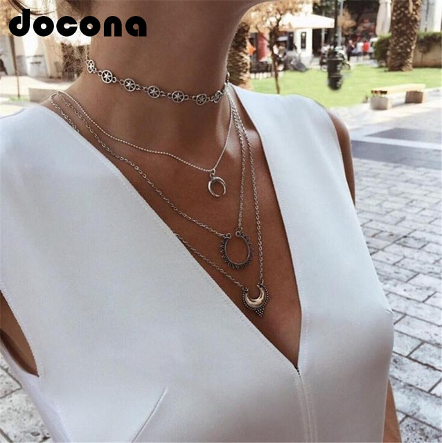 docona Vintage Boho Multi-layer Pendant Necklace for Women Silver Star Horns Met