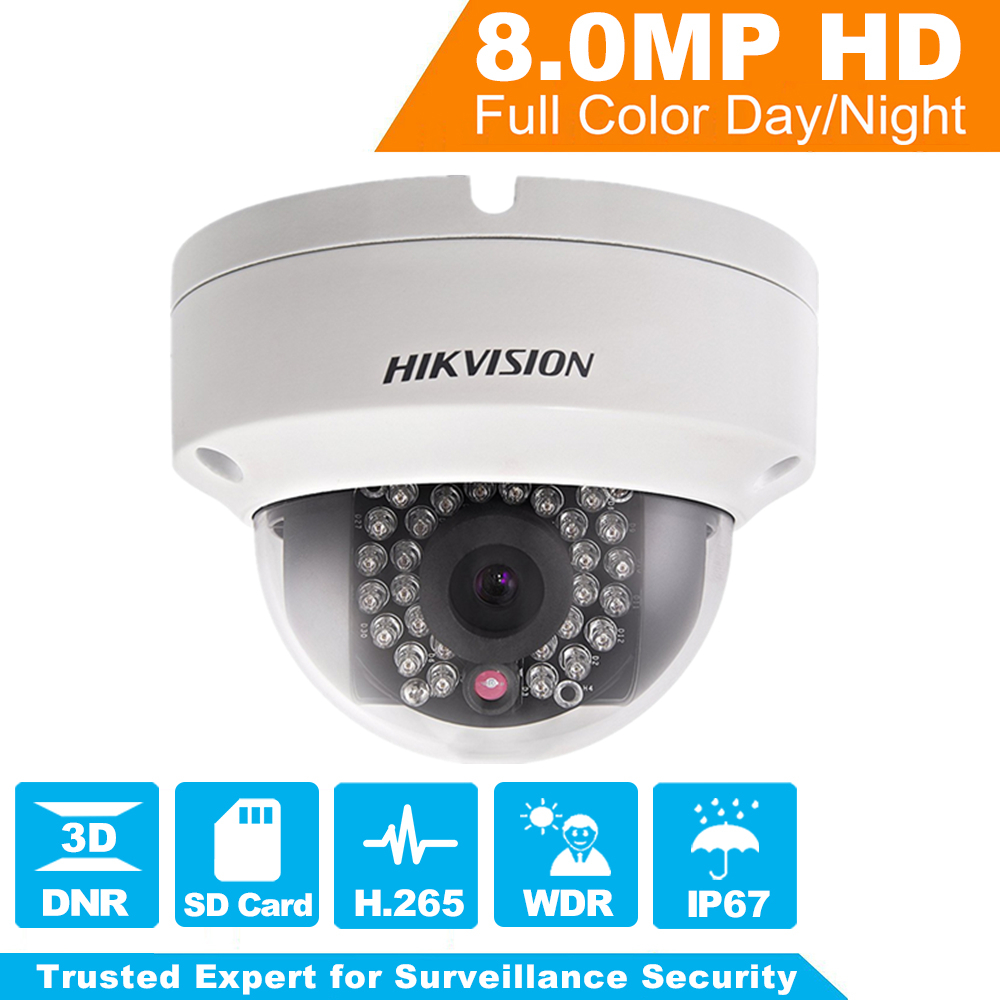 HIKVISION New Released 8MP H.265 HD Network Dome Camera DS-2CD2185FWD-I 3D DNR Bullet Camera 3840 * 2160 Resolution IK 10 IP 67 hikvision new released 8mp h 265 network dome camera ds 2cd2185fwd i 3d dnr bullet camera 3840 2160 resolution ik 10 ip 67