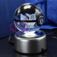 Hot Popular Pokemon Go EEVEE Pokeball 3D Laser Engraving Crystal Ball With LED Base as Christmas Gifts