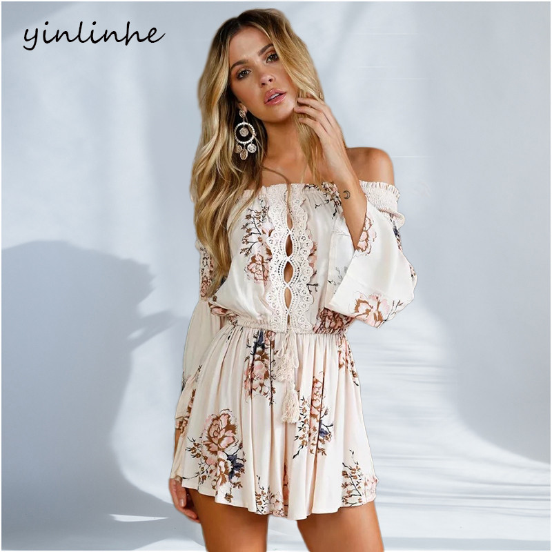 yinlinhe Summer Playsuit overall Women 2019 Off Shoulder rompers women   jumpsuit   long sleeve Hollow Out Sexy Short   Jumpsuit   245