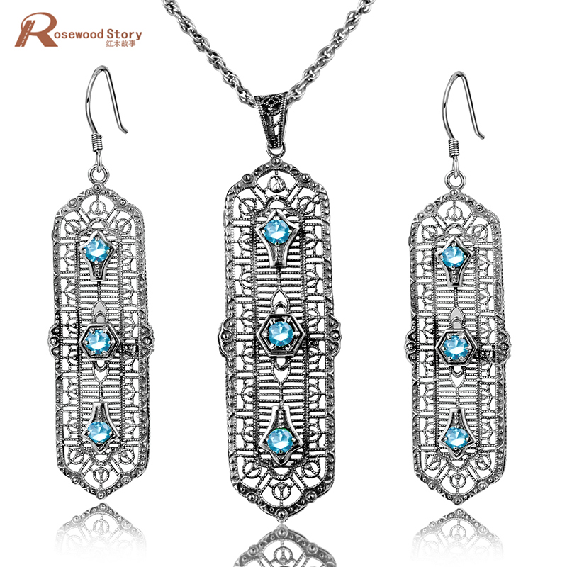 Brand New Fashion Light Blue Cubic Zirconia Crystal Real 925 Sterling Silver Jewelry Sets For Women Vintage Handmade GiftsBrand New Fashion Light Blue Cubic Zirconia Crystal Real 925 Sterling Silver Jewelry Sets For Women Vintage Handmade Gifts