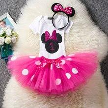 Новое платье для маленьких девочек с Минни детский летний костюм, детский нарядный костюм на день рождения комплект для маленьких девочек 0-2 лет