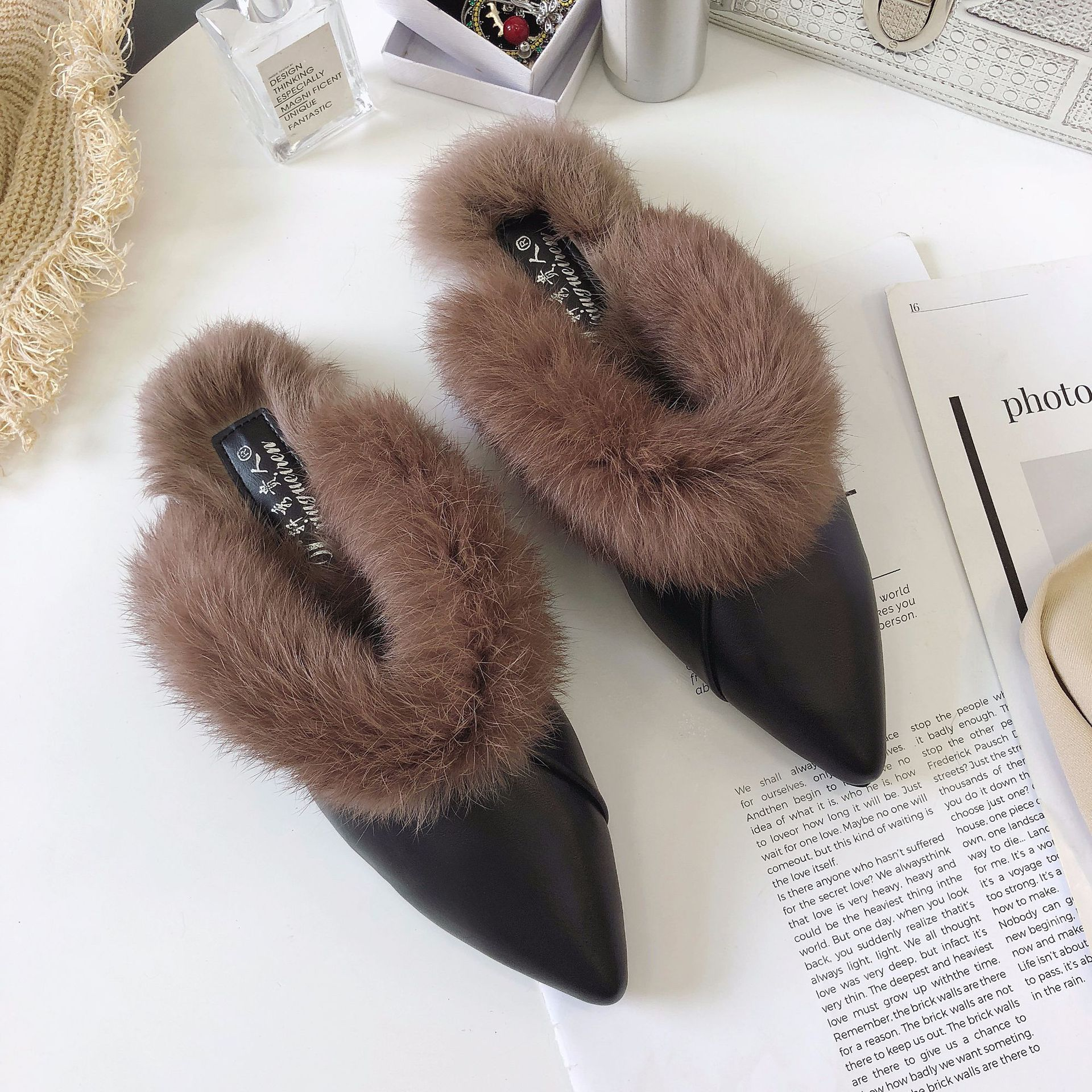 96e64ecc3ea Women Slippers Shoes Faux Fur Mules Flat Winter Warm Plush Slides ...