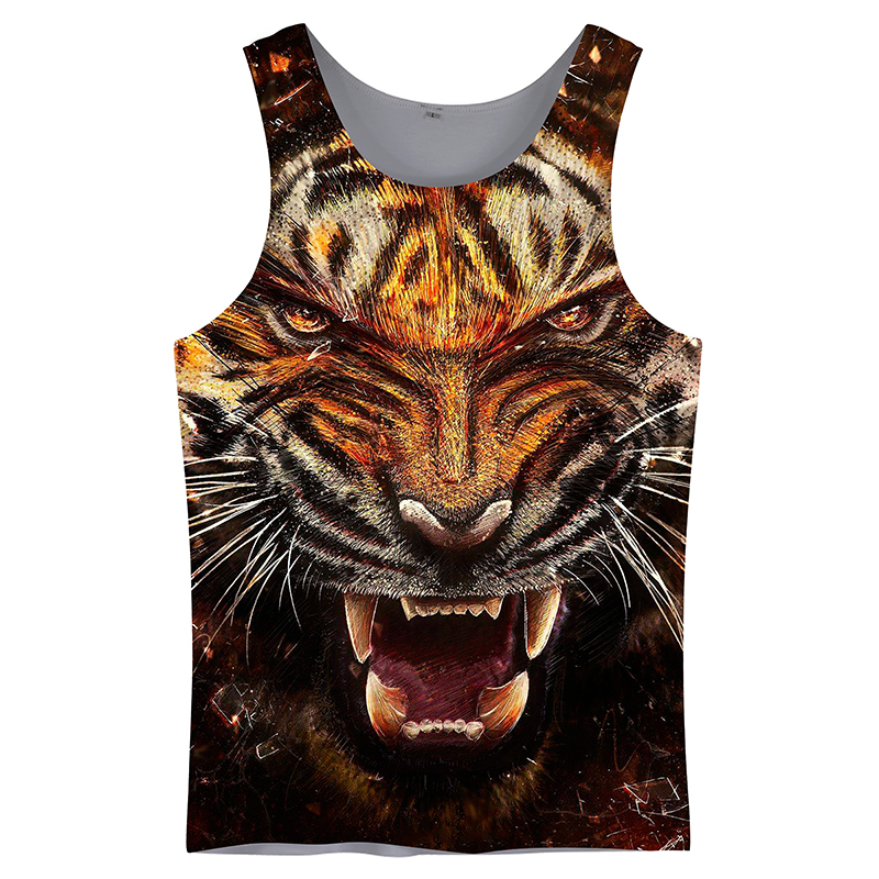 Cloudstyle 2019 Thin Spring Cool Tiger Vest   Tank     Tops   Men   Tanks   3D Printing Men Sleeveless Vest Mens Clothing Plus Size 5XL