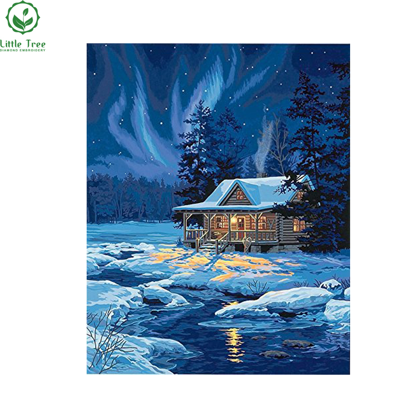 Beautiful Nature Snow Winter night Landscape diy diamond painting pasted needlework square drill home decoration 3d Cross Stitch