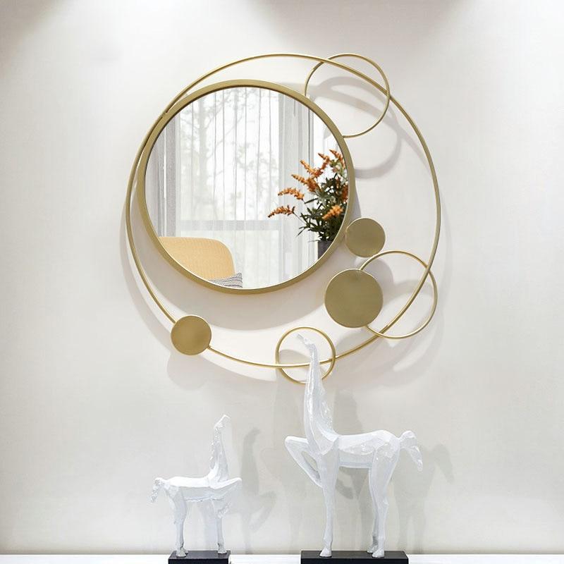 Американское трехмерное креативное зеркало для крыльца, Настенное подвесное украшение для гостиной, настенное зеркало, Золотая рамка, железо|Декоративные зеркала|   | АлиЭкспресс - Зеркала