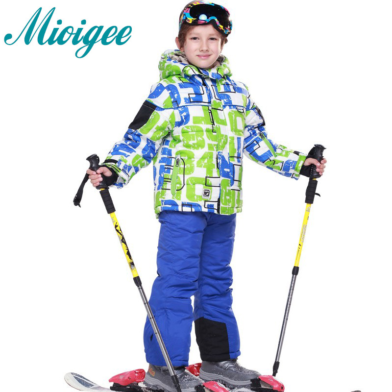 Mioigee 2017 New Children sets Boys Winter sport jacket + ski pants 2pcs kids winter clothing set for boys 2018 new cartoon boys clothing sets 2pcs denim jacket