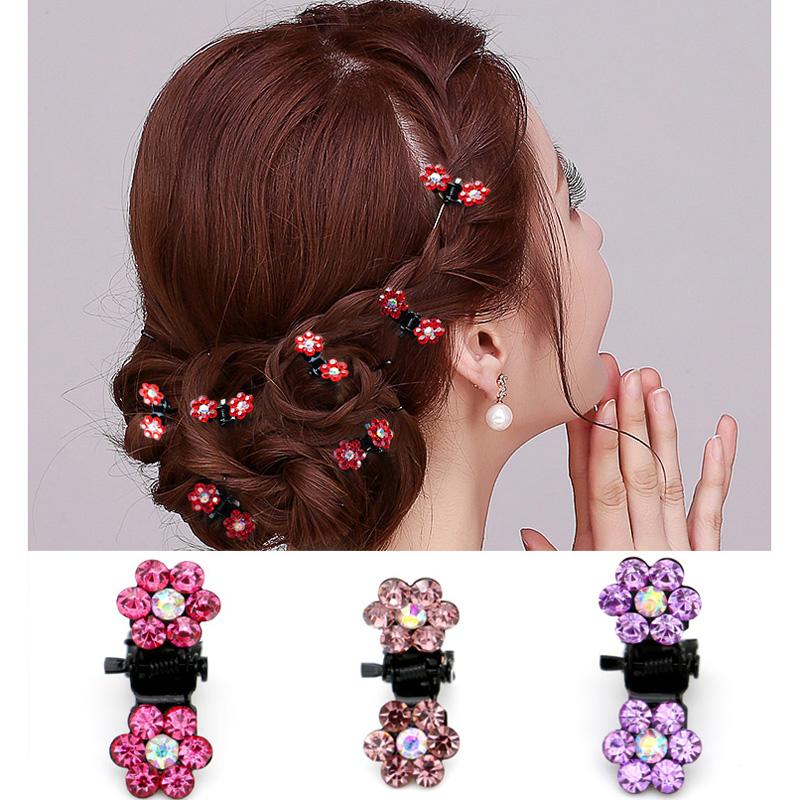 Girls Sweet Crystal Rhinestone Flower Mini Hair Claws Clips Pin Clamps Hair Clip Hair Accessories HOT 2017