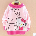 Retail 2-4 Years Old Hello Kitty Children Sweater Cute Cartoon Girls Sweaters Fashion Fall&Winter Baby Causal Kids Clothes c30
