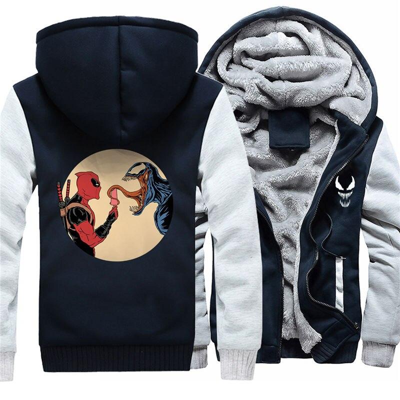 Для мужчин молнии с капюшоном Толстовка Веном зимние теплые Свитшот флисовый утепленный Повседневное чёрное худи пуловер 011