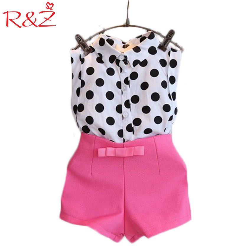 R & Z Girls Fashion Suit Dots Shirt + Shorts 2 Stuks Sets Wave Point Mouwloze Tops Rose Red Broek 3-7y Kinderkleding