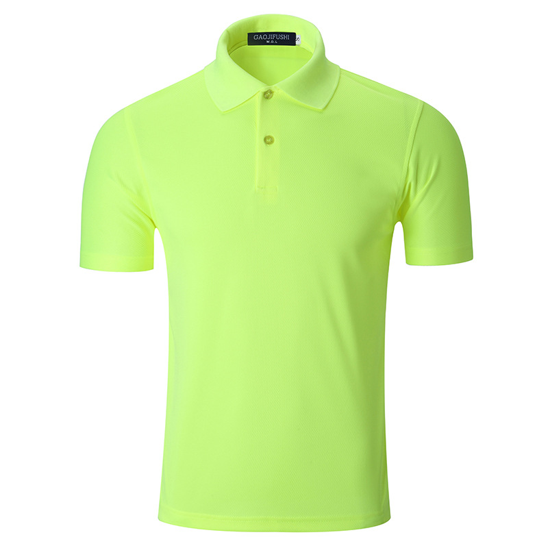 Fluo Solid Color Neon Yellow Pink Cotton Short Sleeve Urban Casual Men's Sportwear Polo Shirt Neck
