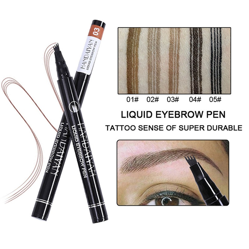 HANDAIYAN Easy to Wear 4 Head Fork Liquid Eyebrow Tattoo Pencils Black Brown Color Natural Waterproof Eyebrow Makeup Pen 1Pcs