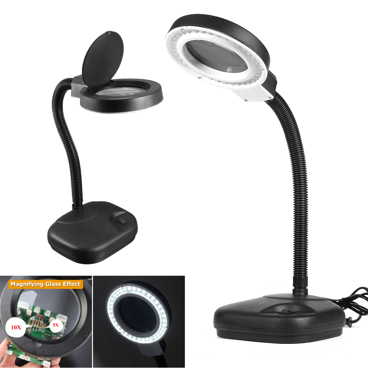 LED Desk Magnifier Lamp Light Crafts Glass Lens 5X 10X Magnifying Desktop Loupe Repair Tools 40 LEDs Stand Daylight Table Lamp crafts glass lens led desk magnifier lamp light 10x magnifying desktop loupe repair tools with usb free shipping