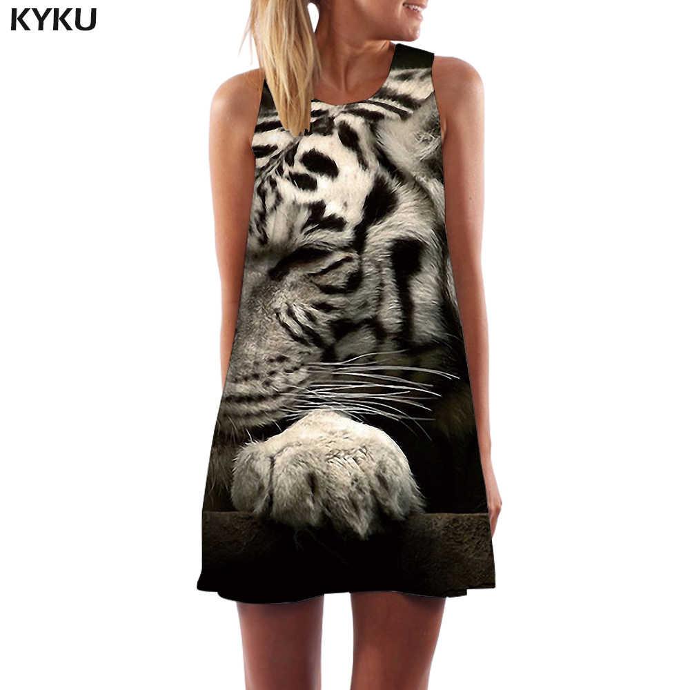KYKU чехол с изображением одежды и зверей для женщин животное пляж лес Танк абстрактный Vestido Сексуальная серая сексуальная женская одежда Летняя туника без рукавов