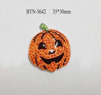 Free shipping 50PCS 35 30mm flatback halloween pumpkin rhinestone button BTN 5642