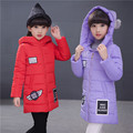 New Arrive Girls Winter Jackets Cotton-padded Outerwear 2016 Winter Thick Long Jacket Girl Outerwear & Coats 4-10 year