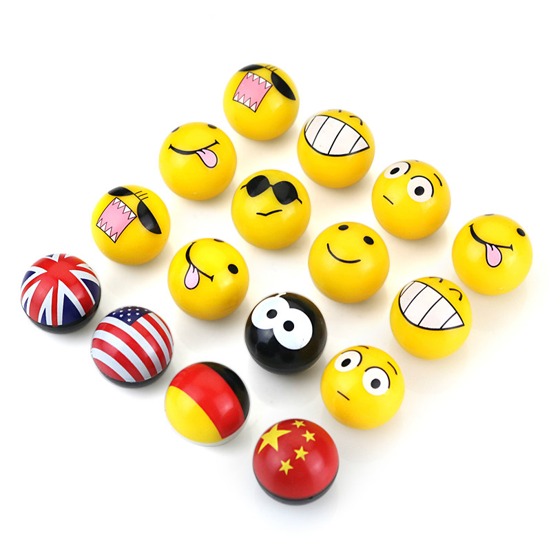 Yellow Adorable Expression Funny Face Eye Black 8 UK USA Germany Flag Wheel Stem Air Valve Caps Car Styling Tyre Rim Accessory