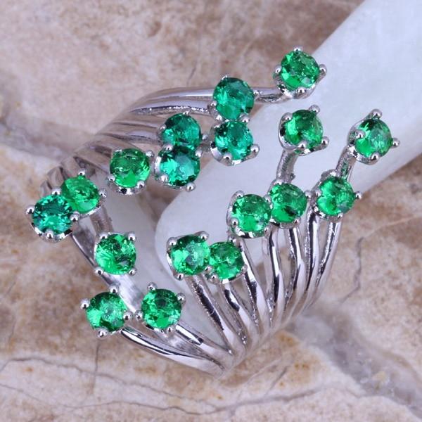 Unik grønn kubisk Zirconia 925-sølvring for kvinner størrelse 5/6/7/8/9/10/11/12 S0222