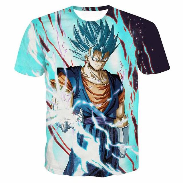 Dragon Ball Z T-shirts Mens Summer Fashion 3D Printing Super Saiyan Son Goku Vegeta Frieza Freeza Dragonball T Shirt Tops Tee