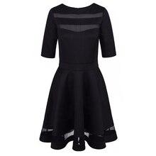 Women Dress Spring Summer European Style Ladies Knee Length Vintage Mesh Sexy Black Party Dresses Vestidos Black Dress S-XL