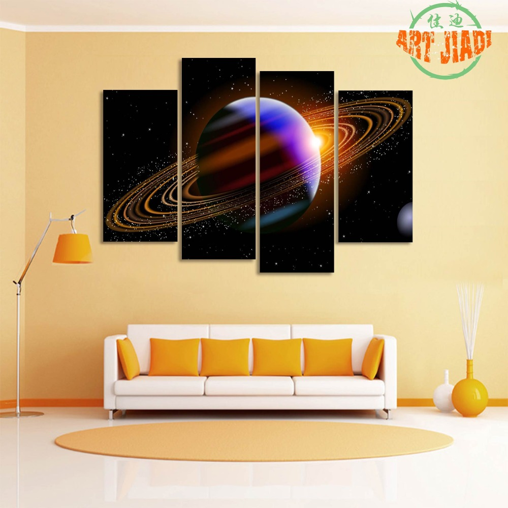 Planet With Rings In Deep Space 4 Pieces/set Canvas Art Canvas ...