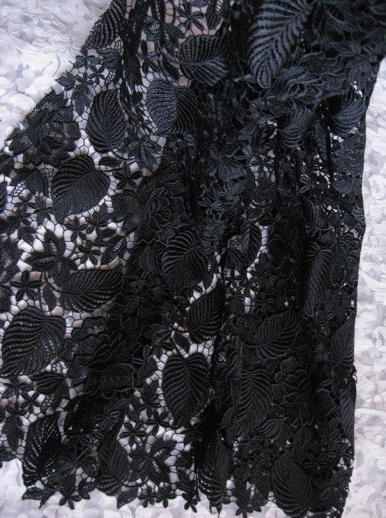 Tissu en dentelle au crochet noir tissu en dentelle Antique avec des feuilles de Roses rétro Floral