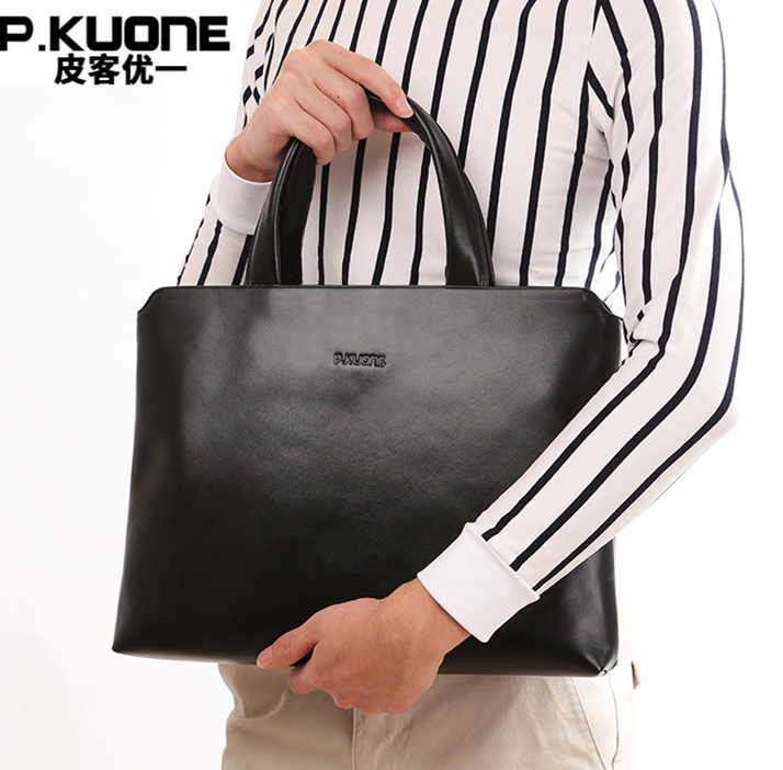 P.Kuone 100% Cowhide Men Genuine Leather Handbags Man Business Briefcase Men's Shoulder Messenger Bags Male Laptop Briefcases