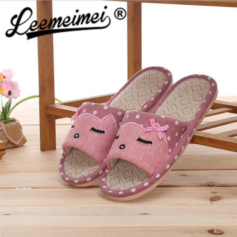 Women Hemp Glasses Home Slippers Women Slippers Cute Cat ...