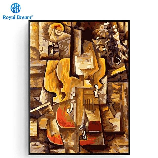 Всемирно известная картина маслом комплекты номеров для взрослых скрипка и виноград Пабло Пикассо Настенная картина ручной работы уникальный подарок