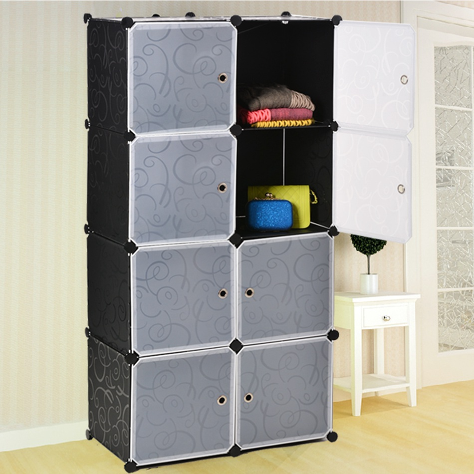 DIY Plastic Wardrobes Portable Simple Closet Dustproof Storage Cloth Cabinet Shoes Clothes Organizer N40* 20 cubes interlocking modular storage organizer shelving closet wardrobes rack with doors for home clothes shoes toys storage