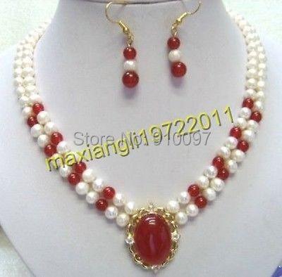 5d406c59b02f Lhx54015s      Beautiful 2 row blanco perla y rojo aretes collar de Jade  colgante