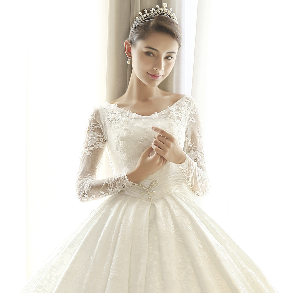 Fansmile Long Sleeve Lace Ball Gown Wedding Dresses 2019