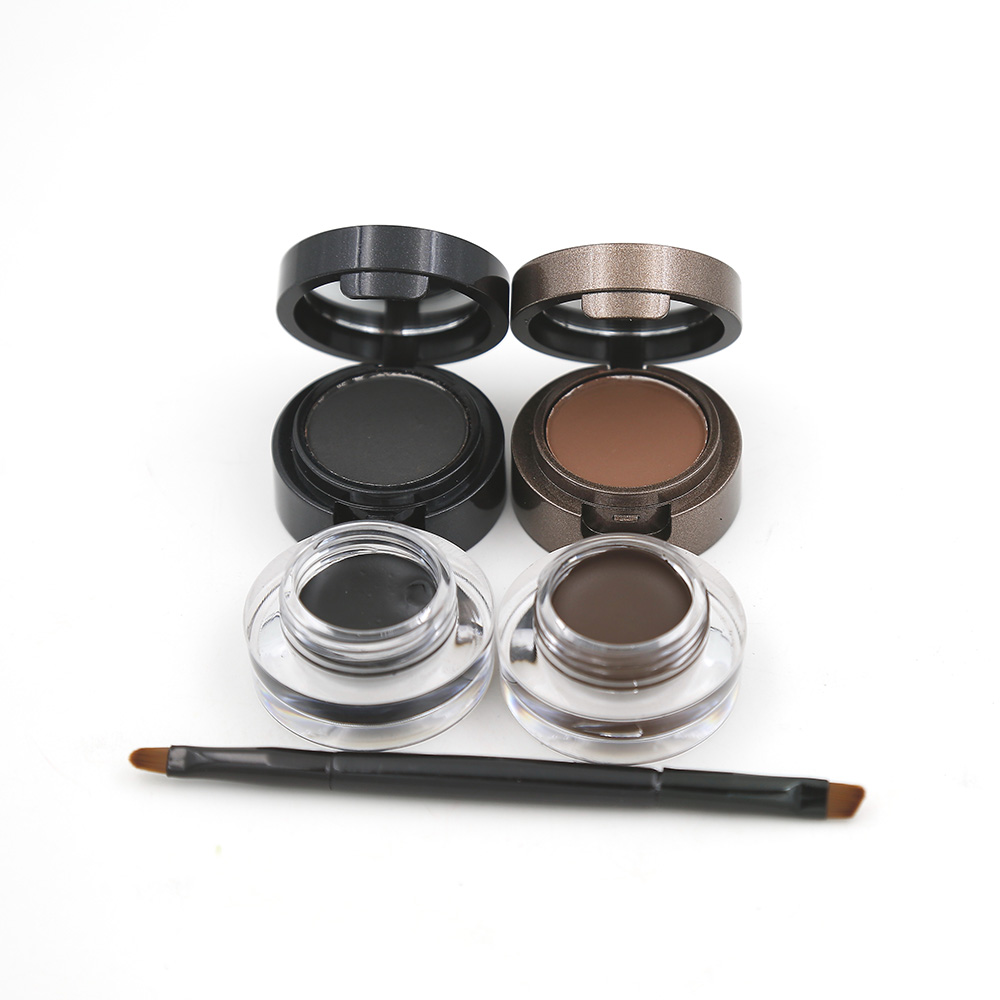 Eyebrow Powder Eyebrows +Eyeliner Gel Long-Wear Gel Eyeliner Brown With Brush Waterproof