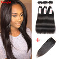 Brazilian Hair With Closure Straight Weave Peerless Virgin Hair With Closure 3 Bundle Deal Brazillian Straight Hair With Closure