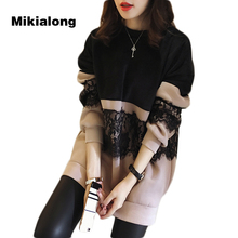 Mikialong 2017 Korean Lace Fleece Hoodies Dress Women L-5xl Oversized Sweatshirts Women Pullover Thicken Outwear Poleron Mujer