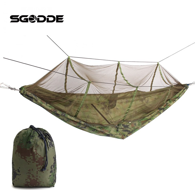 SGODDE Portable Hammock Single-person Folded Into The Pouch Mosquito Net Hammock Hanging Bed For Travel Kits Camping Hiking sgodde portable outdoor travel camping tent folding nylon hammock bed mosquito net nylon 210t fabric for travel kits camping page 3