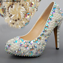 Fashionable bridal shoes Princess Dress Shoes Unique pearl Crystal Rhinestones Wedding Shoes Heels women Party Prom Shoes