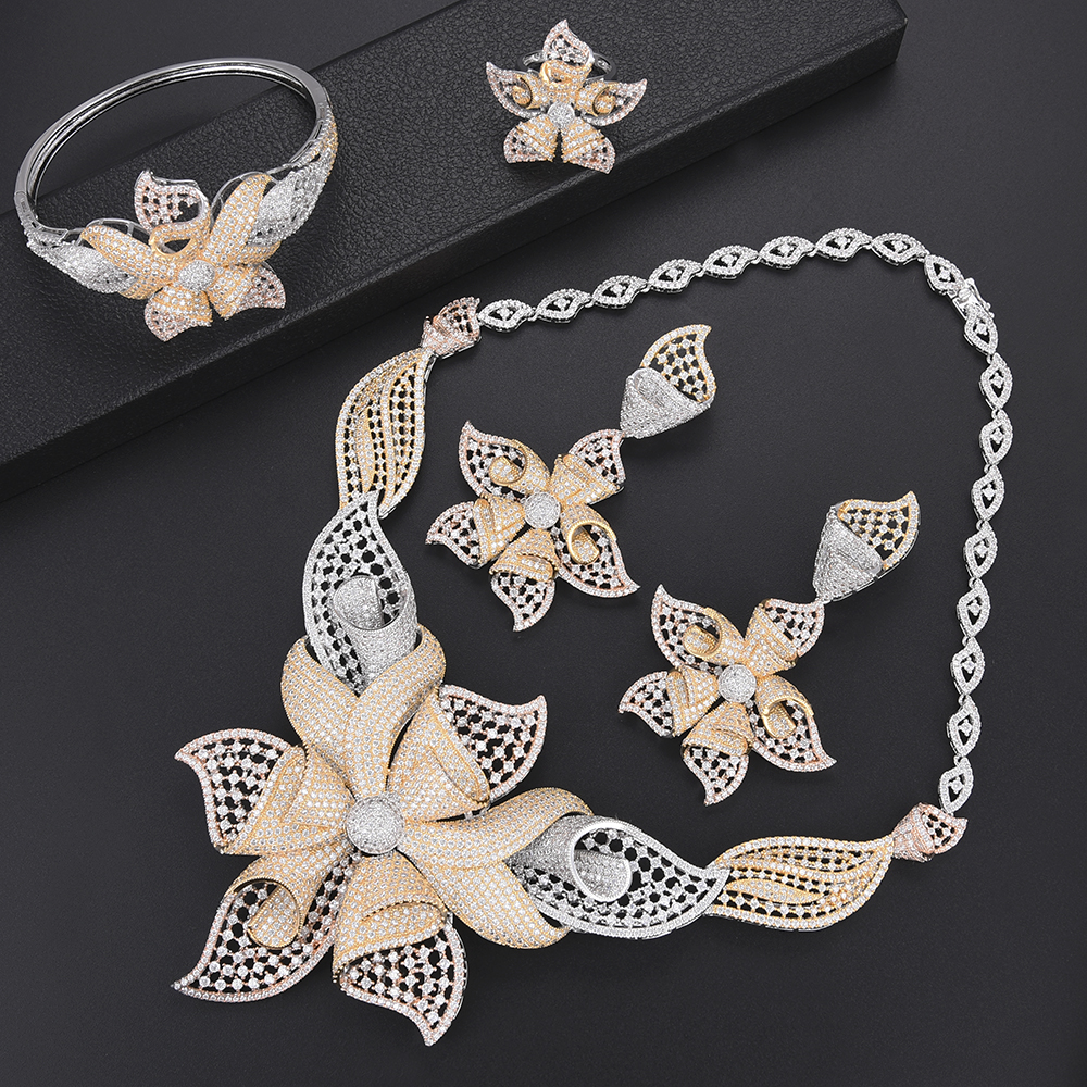 Luxury Flower Indian Dubai wedding jewelry Necklace Earrings Sets Bangle Ring Jewelry Set For Women bridal jewelry sets Luxury Flower Indian Dubai wedding jewelry Necklace Earrings Sets Bangle Ring Jewelry Set For Women bridal jewelry sets