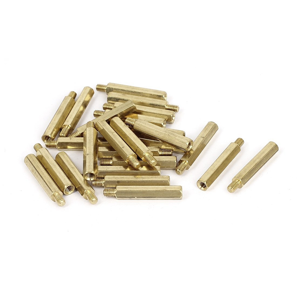M4x30+6mm Female/Male Threaded Brass Hex Standoff Pillar Spacer 25pcs m4 male m 25 30 35 40 45 50 55 60 mm x m4 6mm female brass standoff spacer copper hexagonal stud spacer hollow pillars